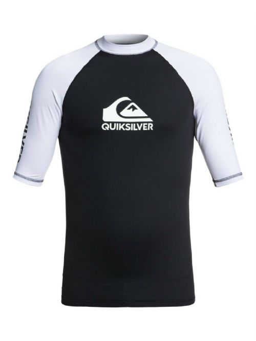 QUIKSILVER MENS RASH VEST.NEW ON TOUR BACKPRINT UPF50+ BLACK TOP T SHIRT 9S 39KV
